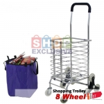 8 Wheel High Quality Foldable Shopping Grocery Trolley Cart Upgrade