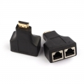 Black HDMI To RJ45  Dual Port Network Cable Extender cat5 cat6