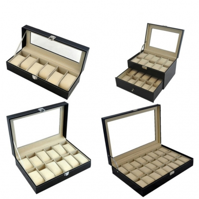 PU Leather Watch Slot Case Storage Box 6 10 12 20 24 slots