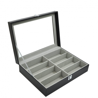 8 Slot PU Leather Display Sun Glasses Eyewear Storage Box