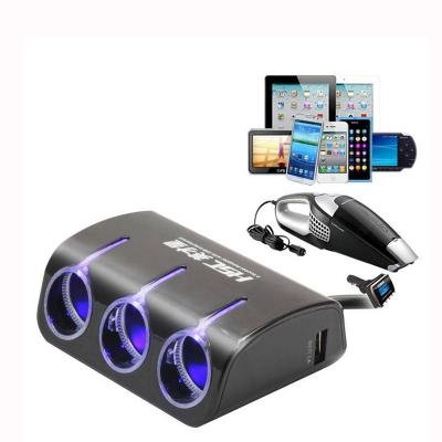 3 Multi Socket Car Charger Car Cigarette Socket & Dual USB