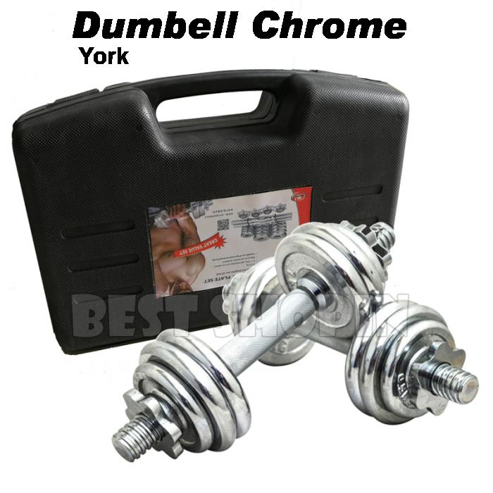 York Chrome Dumbbell Set 15kg: Chrome Dumbell & Barbell Weight (end 8/16/2021 12:00 AM
